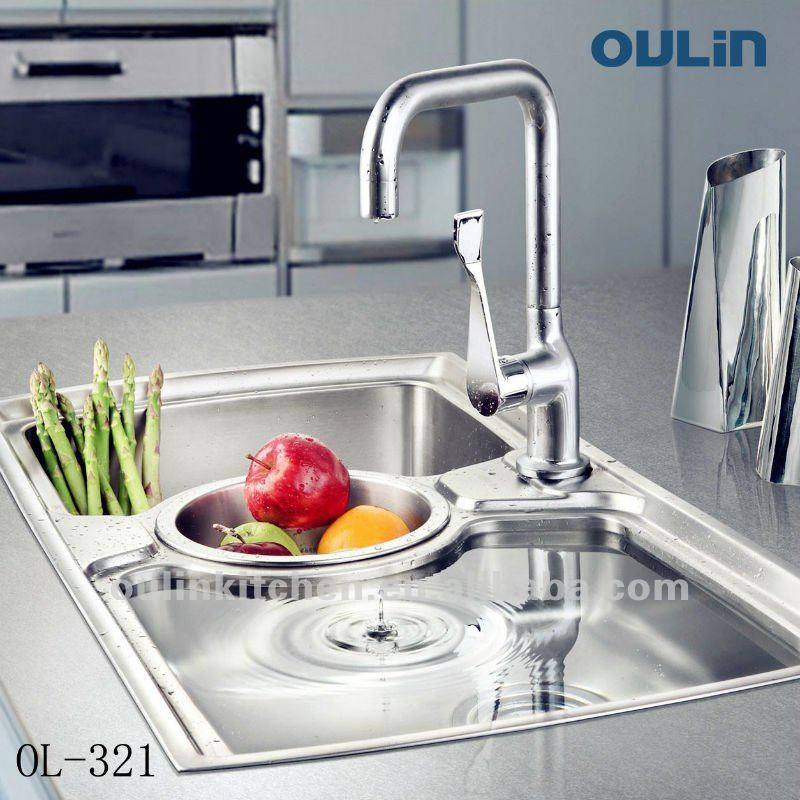 Oulin Unique Design Above Counter Three Bowls Stainless Steel ...