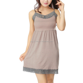 38f87a8618aa 2017 Cute Women's Nylon Lace Trim Seamless Sleeveless For Teen Girls Home  Dress with Spaghetti Straps