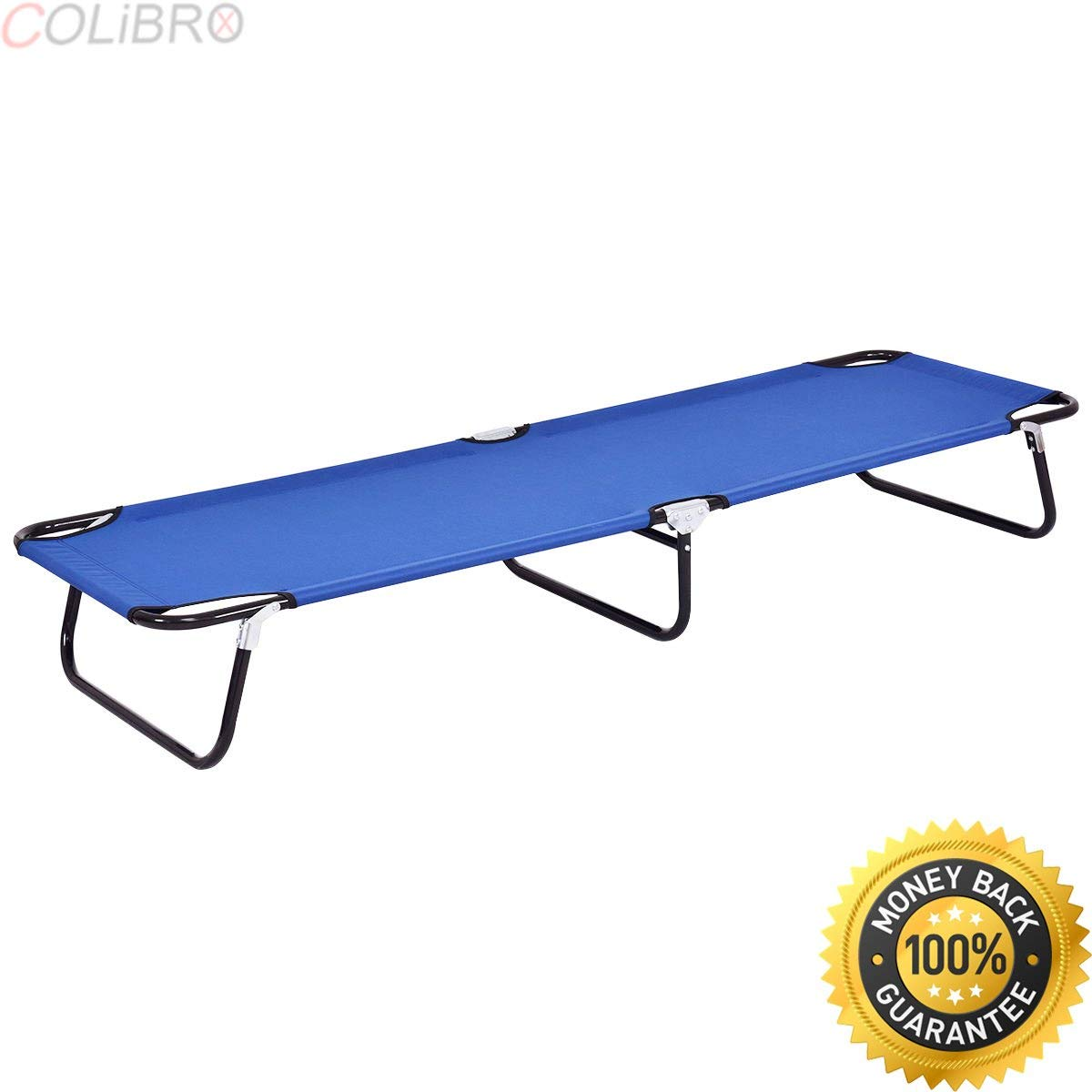COLIBROX--Blue Folding Camping Bed Outdoor Portable Military Cot Sleeping Hiking Travel. best portable folding camping bed on amazon. folding camping bed with mattress. portable folding cot for sale.