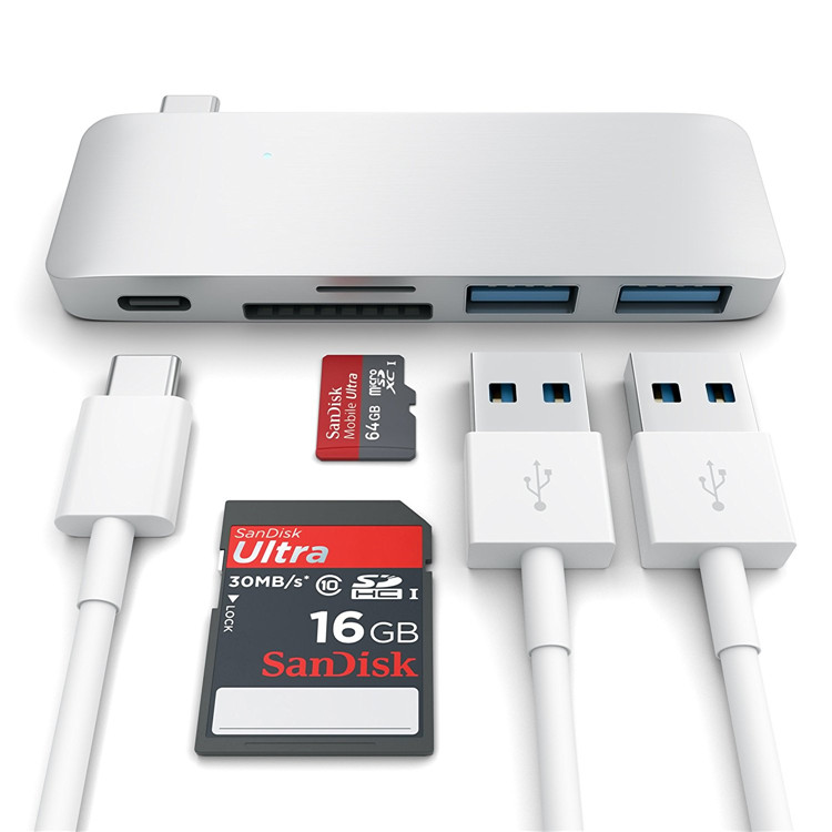 TC501H Aluminum Type-C USB 3.0 3-in-1 Combo Hub for MacBook 12-Inch