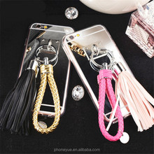 Luxury Fashion Tassel Metal Mirror Circle Ring TPU Phone Case for iPhone 6/6s