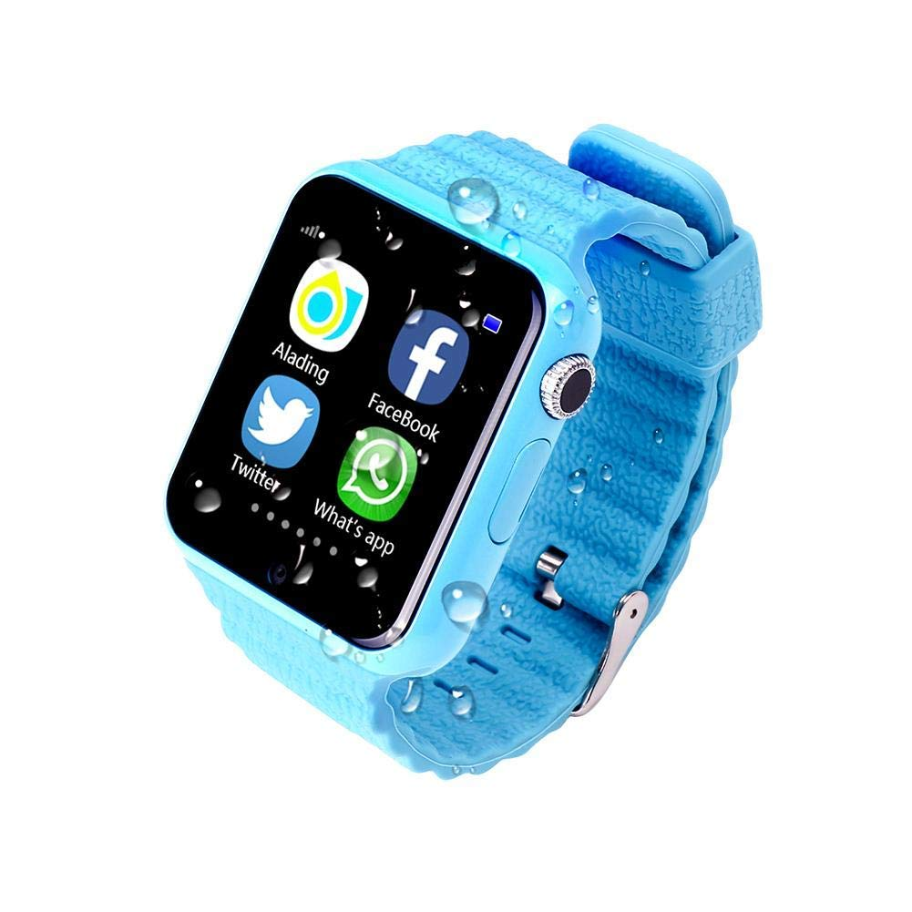 US-PopTrading V7K Smart Watch,GPS Tracker Wrist Watch th Camera Anti-Lost SOS Remote Monitor for Children Safety, Emergency Security Fitness Tracker Compatible with Android Samsung Smartphone