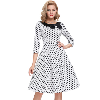 9e7ab5a1b245 Belle Poque Stock 3/4 Sleeve Retro Vintage 50s White Polka Dots Party Dress  BP000041