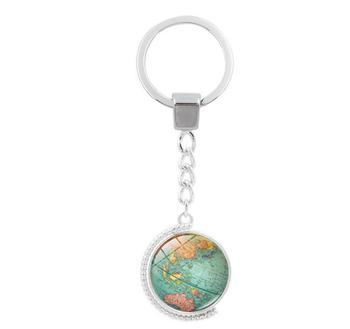 Vintage globe map keychain world map art glass round dome pendant vintage globe map keychain world map art glass round dome pendant key chain fashion jewelry key gumiabroncs Gallery