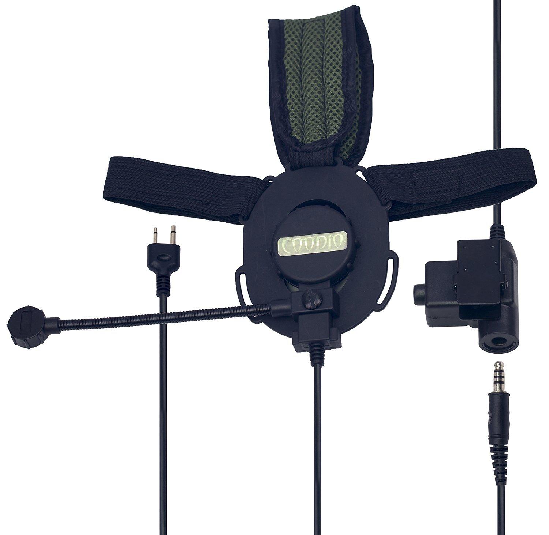 Coodio Tactical Earpiece Headset Mic [Heavy Duty PTT] [Boom Microphone] [Noise Cancelling] For 2 Pin iCom 2 Way Radio, Cobra CB Radio, Midland CB Radio - Green