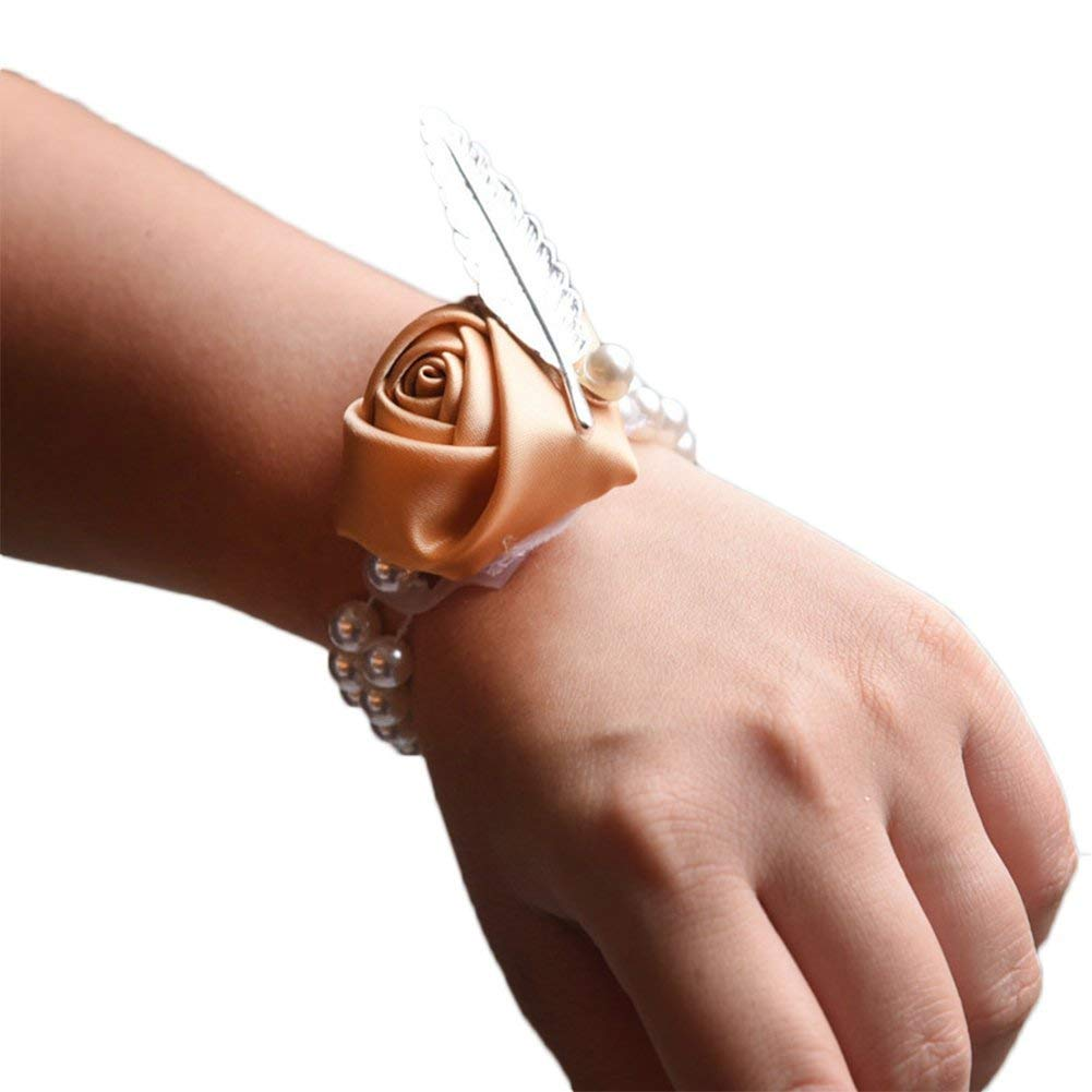 xuxuxou Xuxuou Adorable Wedding Bridesmaid Wrist Flower Corsage Party Hand Flower Decor with Faux Pearl Bead Wristband With Quill