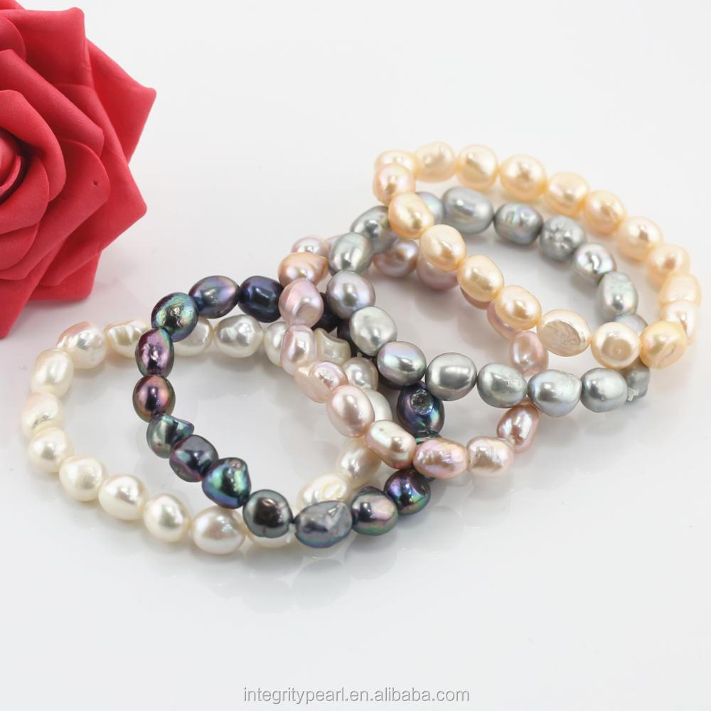 9-10mm large size real natural fresh water freshwater cultured baroque shape stretch elastic pearl bangle bracelets