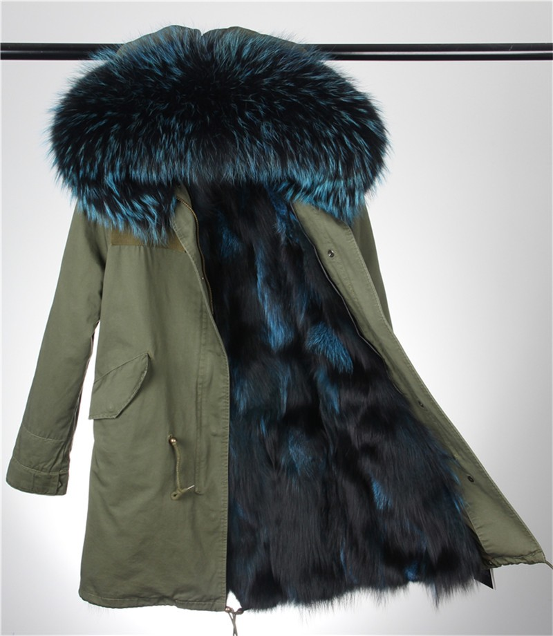 2016 Newest Real Fox Fur Parka For Women Brand Military Winter ...