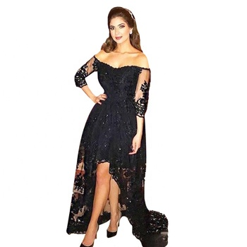 2018 Off Shoulder Cocktail Dresses Lace Black Short Front Long Back Sexy Prom Dress With Sleeve Buy Prom Dresscocktail Dresseslace Prom Dresses