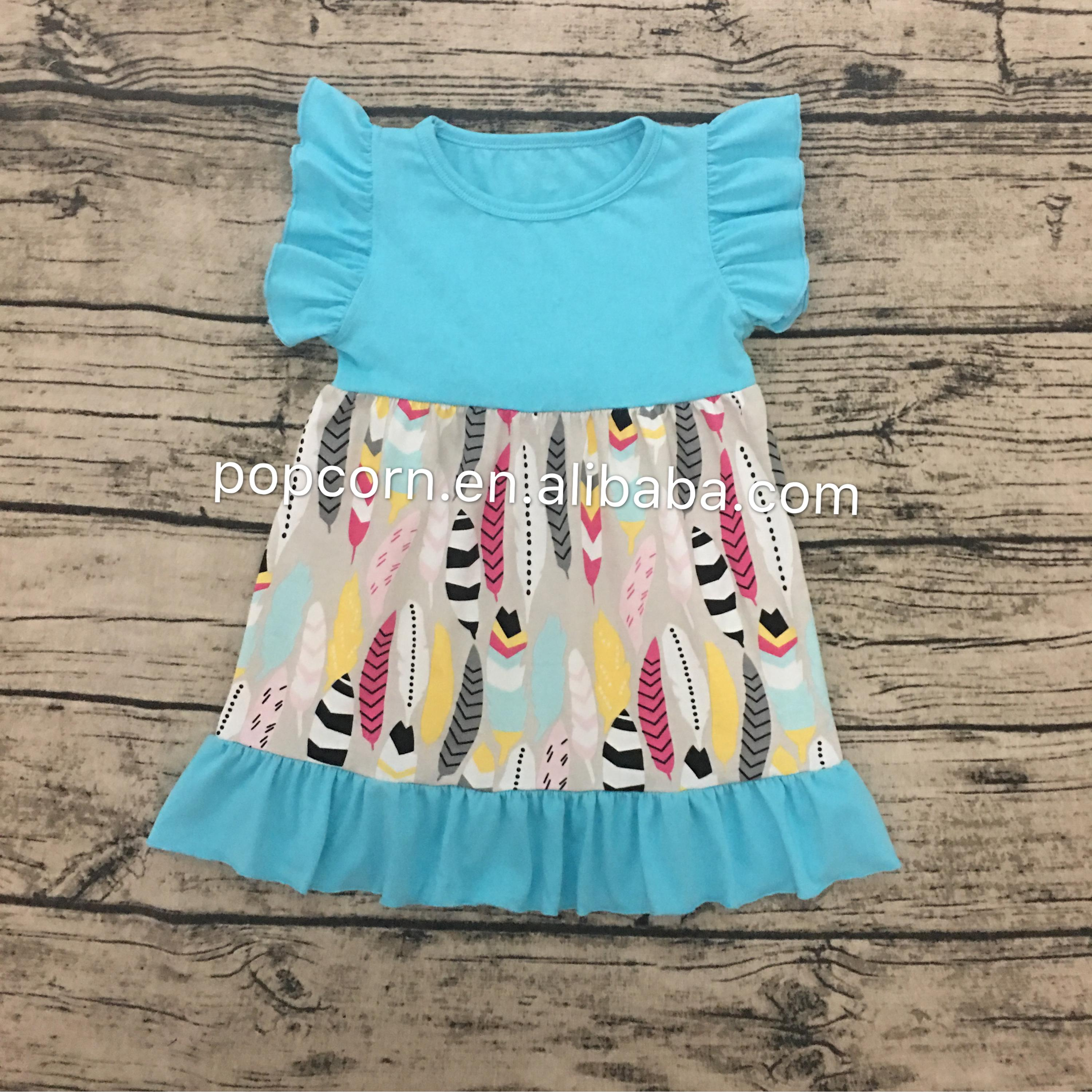 Latest Kids Ruffle Clothing Baby Girl Cotton Dress With Big Twirl