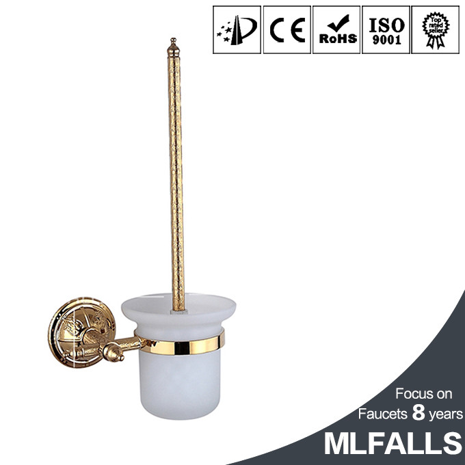 Unique brass & gold titanium toilet brush holder,golden bathroom products,bathroom accessories