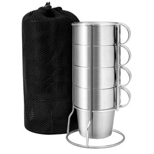 4pcs Outdoor Picnic Cups With Frame Black Mesh Bag Stainless Steel Double-layer Drinking Mugs Anti-Hot Tea Coffee Cup Set
