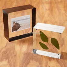 Magnetic picture frame block clear solid acrylic photo cube frame