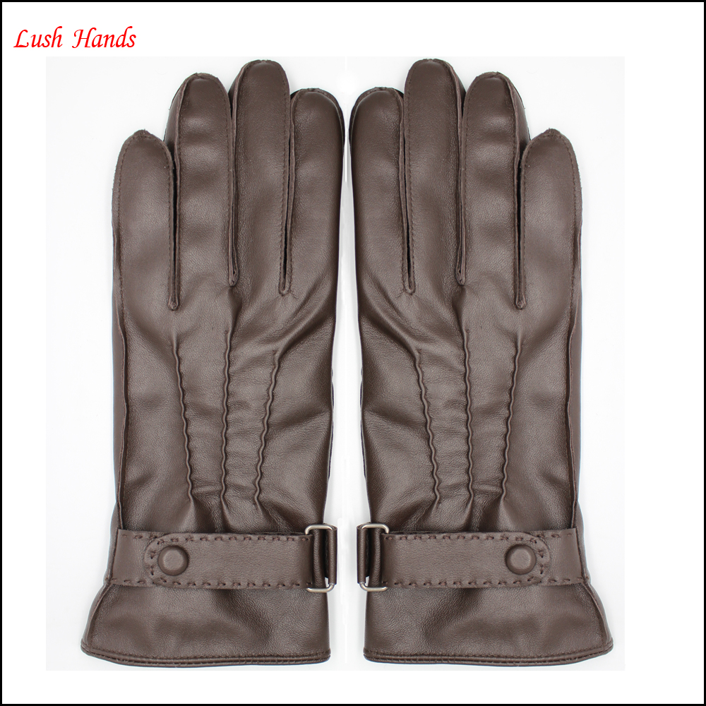 wholesale Classic women black leather gloves with belt buckles and buttons
