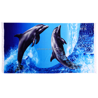 High quality dolphin quick dry compressed printed microfiber digital printing beach towel with edging fringe tassel