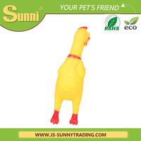 Customised best yellow funny chicken pet toys for dog