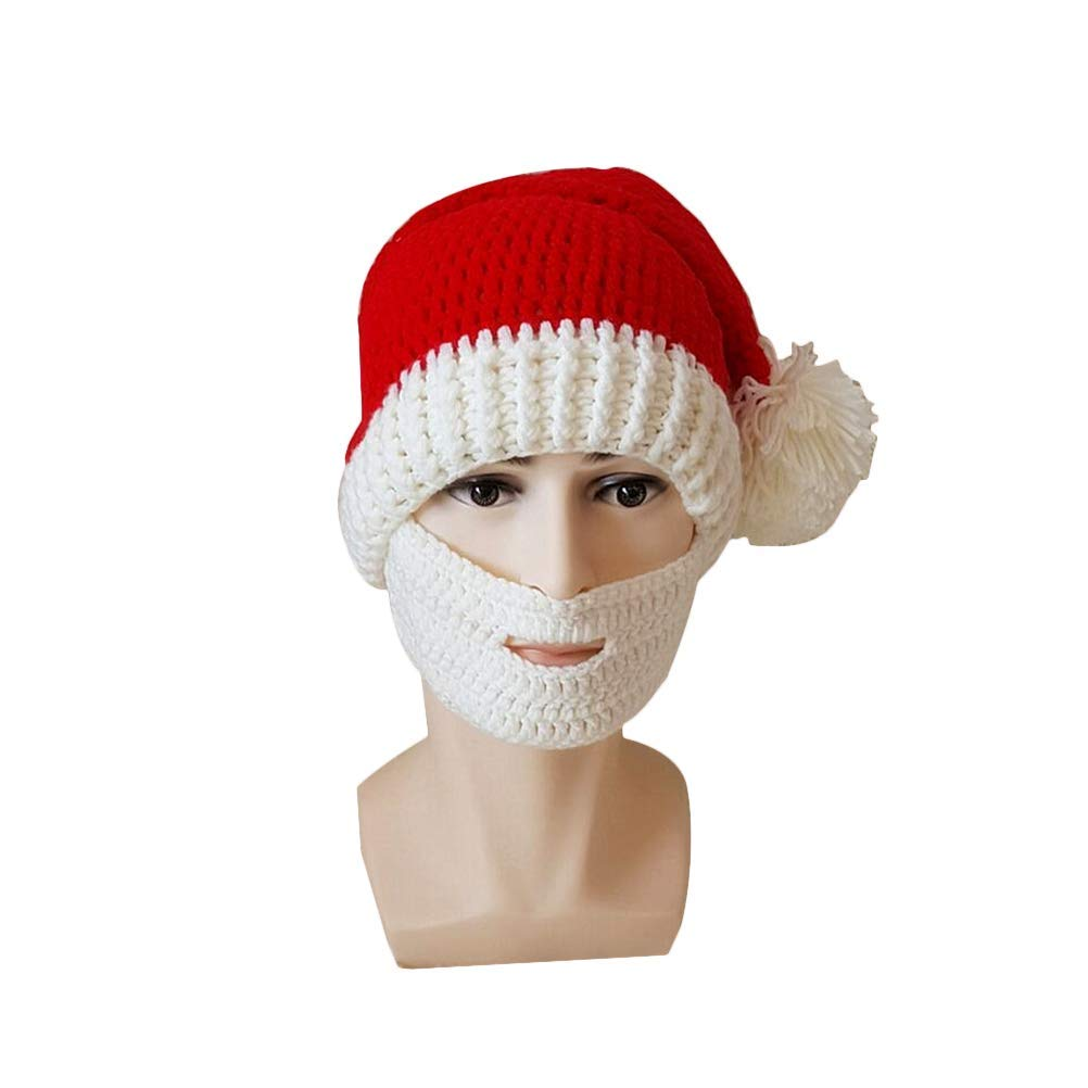 8986880d173 Get Quotations · Fenical Fashion Santa Claus Cap Red Knitted Hat Funny  Adult Beard Hats Christmas Ornaments for Xmas