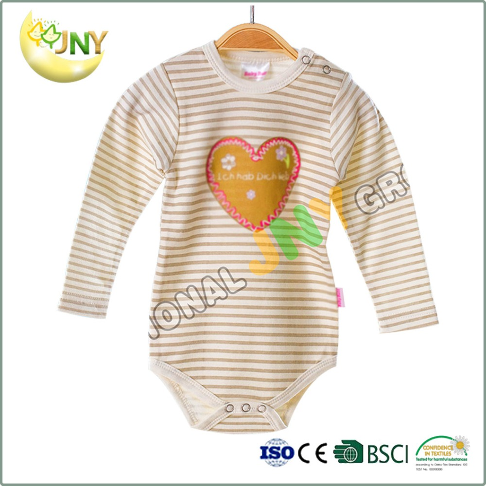 Spring And Autumn Loving Heart Stripe Babysuits