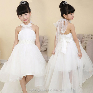 white blue angel 2 to 12 year old girl beaded tulle sleeveless trailing princess dress latest design