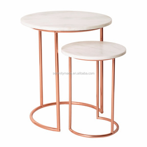 Dining furniture nesting round marble coffee table tops with golden frame