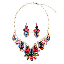 Fashion Luxury Large Exaggerated Bridal Party Zircon Red Crystal Kundan Necklace Earring Set Women