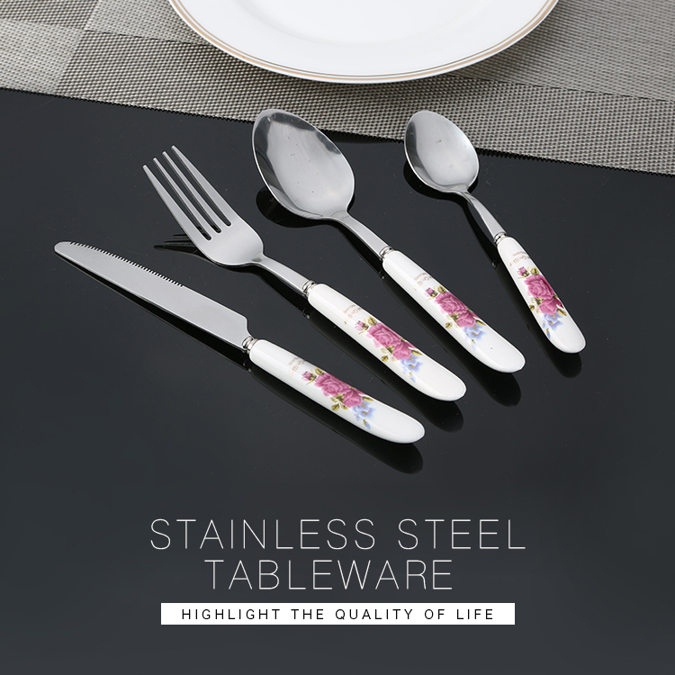 stainless steel ceramic handle flatware with porcelain handle cutlery 4pcs tableware set China