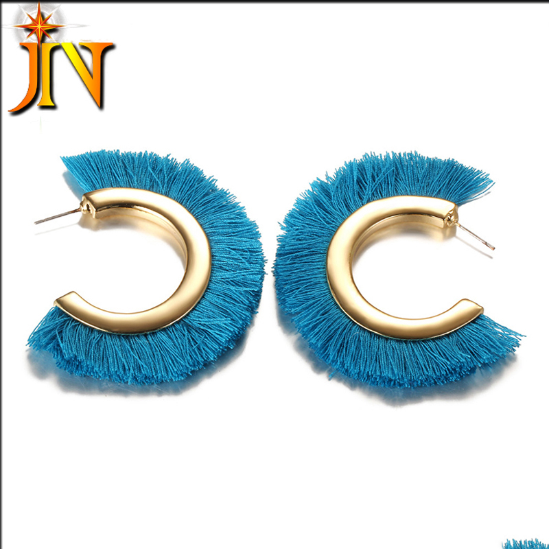 CS00112 JN wholesale bohemian fashion fan-shaped handmade tassel big hoop earrings