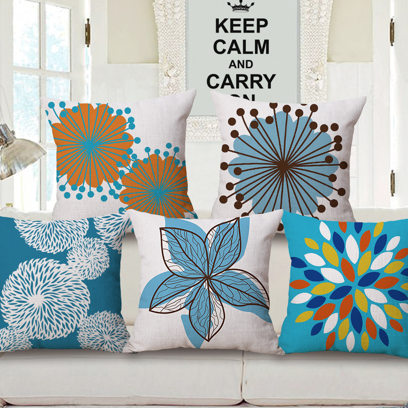45cm 200g Fresh Blue Flowers Thick Type Fashion Cotton Linen Throw Pillow Hot Sale 18 Inch New Home Decor Sofa Back Cushion MQQ