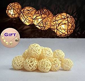 Goodia Battery Operated 1.2M 10 LED Fairy Lights / 4cm Cream White Rattan Ball , ;PMN#4534TG48 3464YHREx35252