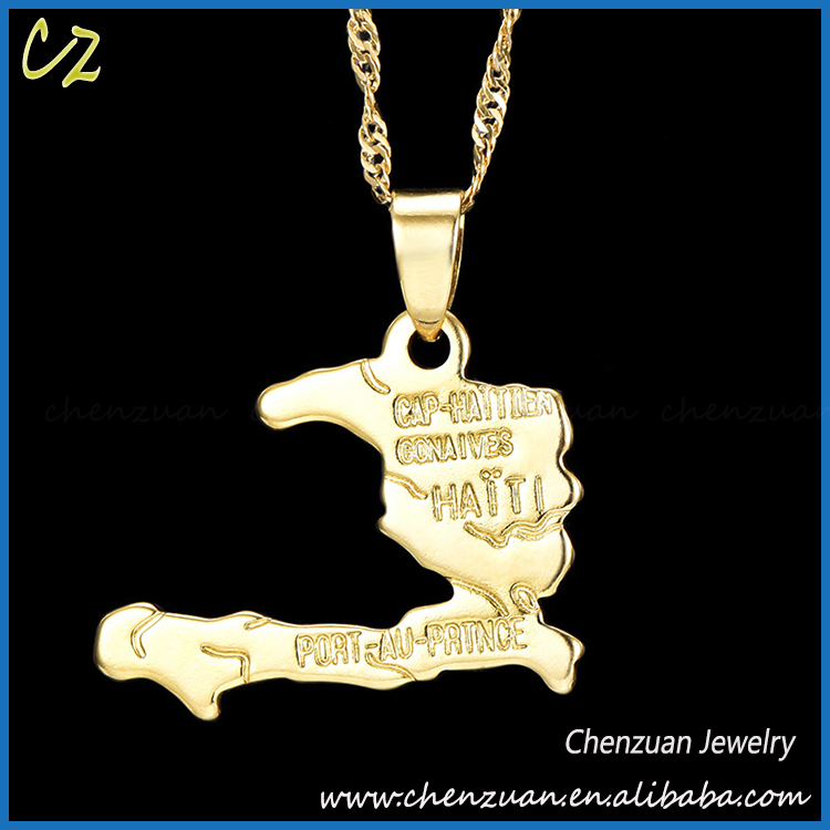 Saudi Jewelry World Map Country Shaped 18k Pure Gold Necklace