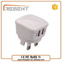Qiuck charge universal power adapter 2 usb port wall charger With UK/EU/US/AUS changeable connector