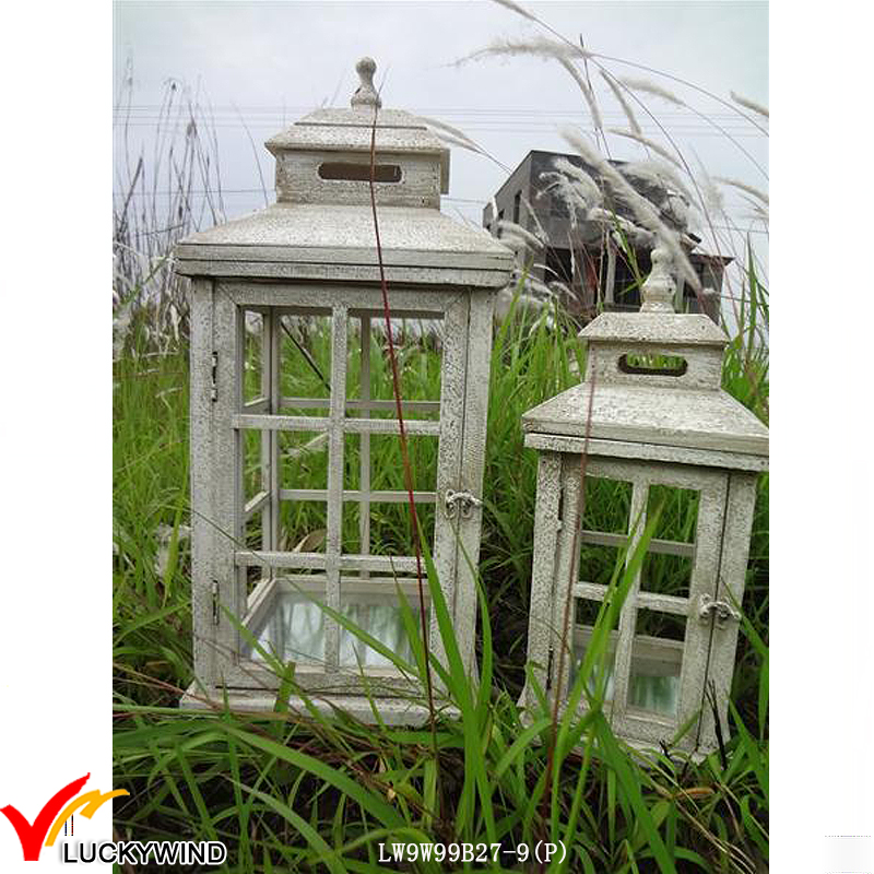 Square Rustic White Glass Wooden Vintage Candle Lantern Set 2