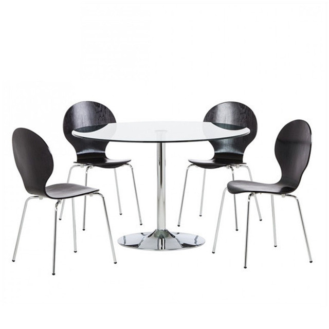modern round glass dining table and 4 chair