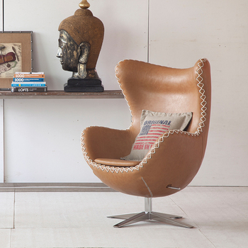 Swivel Leather Retro Aviator Egg Chair With Rope Design