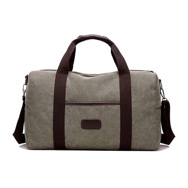 Leparvi Canvas Waterproof Travel Duffel Bag Lightweight Tote Bag for men women Carry On Luggage Weekend Sports Gym