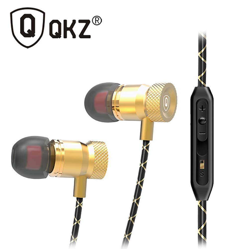 QRMH in-Ear Headphones Metal Unit Music Tri-Band Equalization with Microphone Headphones, Suitable for Game Listening to Song Sports
