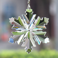 Hot sale crystal glass hand crafts Christmas tree ornament Christmas gift items crystal glass hanging snowflake