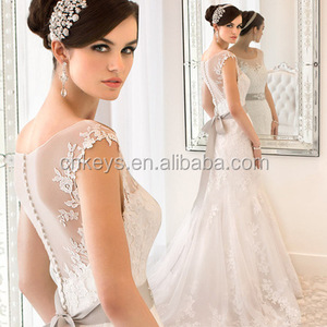 K1622A 2017 New Collection Mermaid Wedding Dress Sexy V-neck Alibaba Wedding Dress