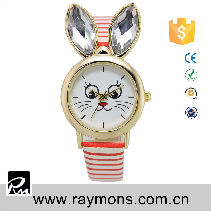 Cat face newest customs eco-friendly alloy cheap watches for girls with promotion