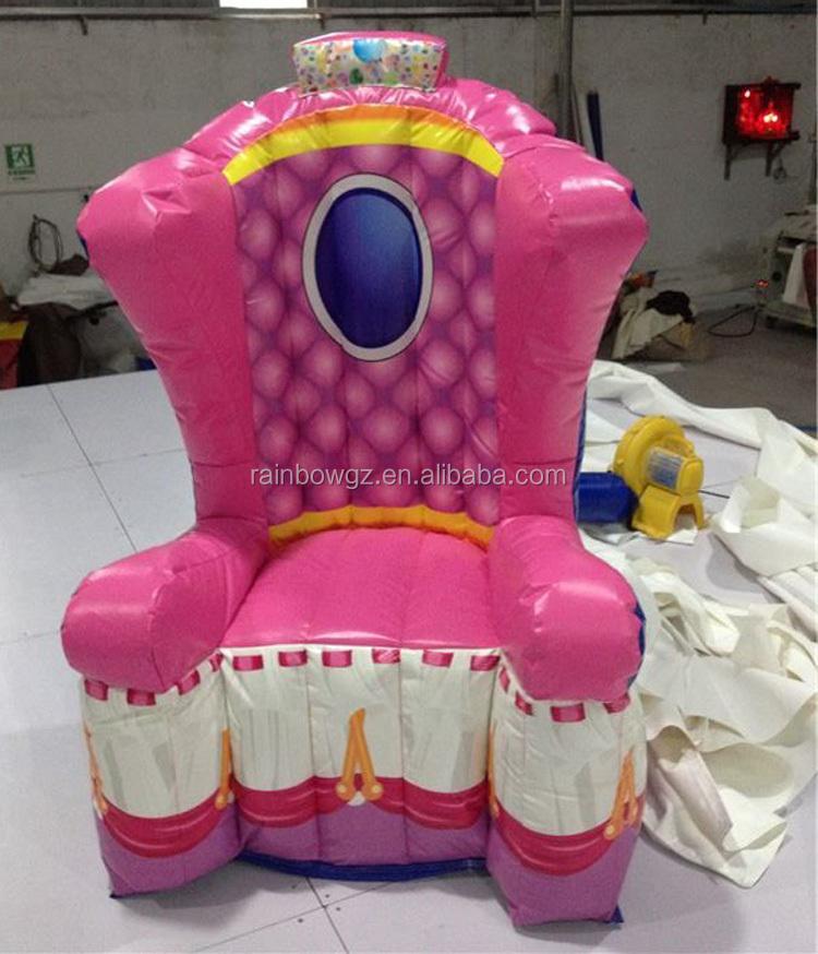 Inflatable Kids Birthday Chair: Party Gebruikt Opblaasbare Prinses Stoel Foto Genomen