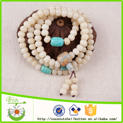 wholesale 10*8 mm white bodhi seed beads prayer beads mala buddhist necklaces for yoga meditation