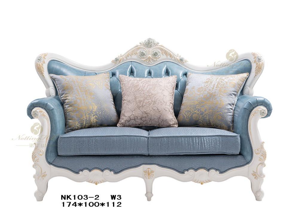 Luxury European Style Wooden Furniture Of Two Seats Sofa