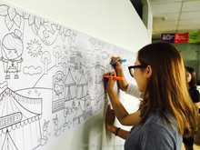 Giant Line Art Coloring Poster for Group Activity