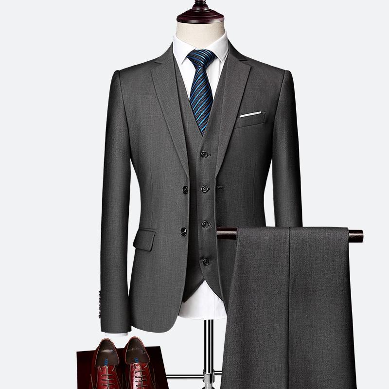 a76b6104620 2019 Pure Color Mens Formal Suit Set Jackets + Vests + Pants To ...
