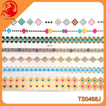 "Hot new products for 2015, 8.5""x5.75"" temporary golden silver colorful bracelets design tattoo sticker"