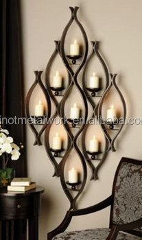 Decorative Metal Wall Mounted Candle Holder Custom Wrought Iron Hanging