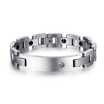 Guangzhou factory wholesale 316L stainless steel silver color men hematite magnetic bracelet