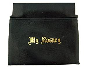 """Gold Stamp Lettering """"My Rosary"""" 3 3/8 Inch Black Vinyl Squeeze Case"""