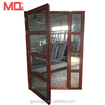 Adjustable aluminum glass casement door son and mother door