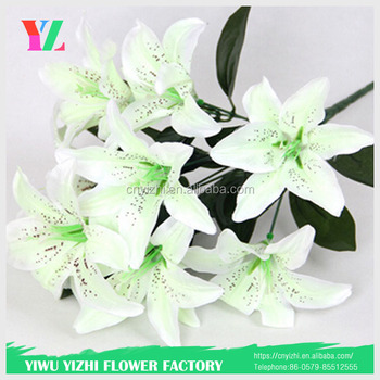 Simulation White Color Lily 10 Flowers Perfume Wedding Party Decoration Fake
